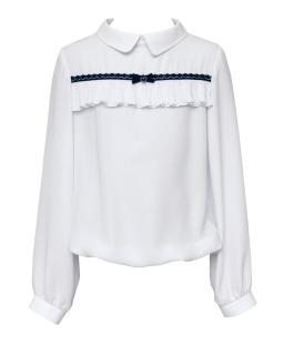 Biała bluzka z długim rękawem i plisą 122-158 136A/S/20 biała
