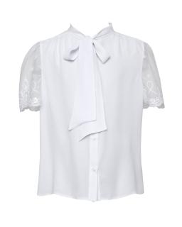 Biała bluzeczka z koronkowym rękawkiem 134-164 134/S/20 biała