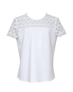 Elegancka bluzeczka z koronkową wstawką 122-158 131/S/20 biała
