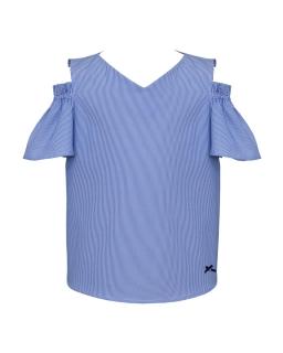 Letnia bluzeczka z opadającymi rękawkami 134-164 0SS-05 niebieska