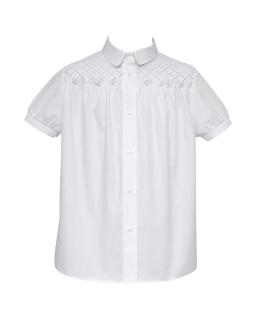 Bluzeczka z koronkowym karczkiem 1116-152 127/S/20 biała