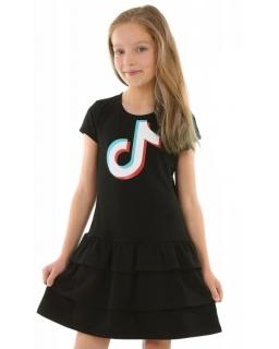 Sukienka z falbankami TikTok 128-158 KRP357 czarna 1