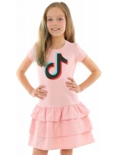 Sukienka z falbankami TikTok 128-158 KRP357 różowa 1