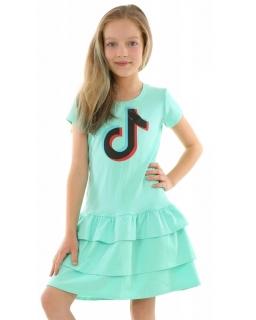 Sukienka z falbankami TikTok 128-158 KRP357 miętowa