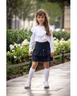 Dziewczęca spódnica z falbankami 128-158 S-48 Granatowa 1