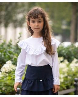Bluzka na rozpoczęcie szkoły, biała, galowa, dla dziewczynki, strój