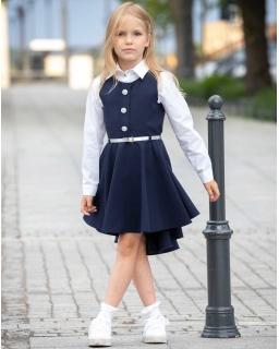 Granatowa sukienka dla dziewczynki, elegancka, z dłuższym tyłem