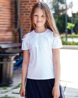 Dziewczęca bluzka z formie hiszpanki 116-152 Rosa biała