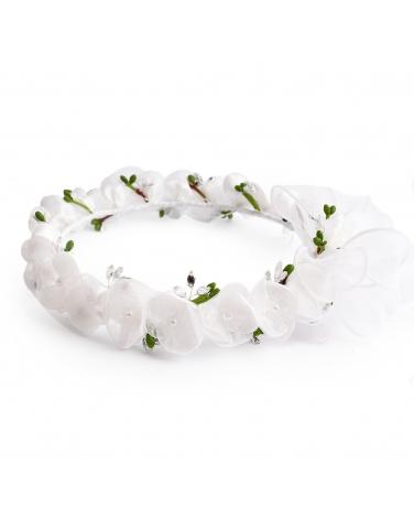 Piękny biały wianek komunijny z regulacją W333