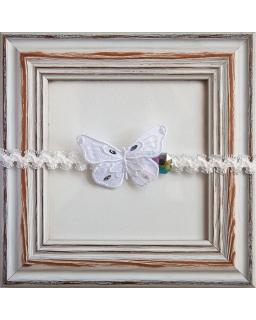 Piękna opaska do chrztu z motylkiem 1/SMMO-04 Ecru - biały