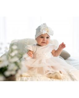 Efektowna czapeczka niemowlęca 1/SMMC-01B Ecru