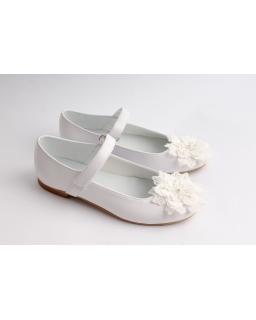 Komunijne balerinki z ozdobnym kwiatem 32-38 01B/SMB białe