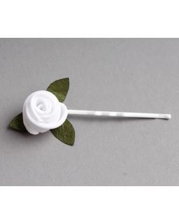 Lekka wsuwka z białą różyczką i listkami WSK01