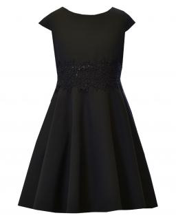 Elegancka sukienka z gipiurą w pasie 134-164 Barbi czarna