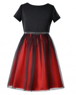 Połyskująca sukienka dla dziewczynki 128-158 Abigail czerwona