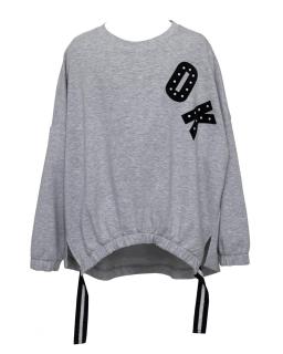 Modniarska luźna bluza OK 134-164 0AW29C szary kolor