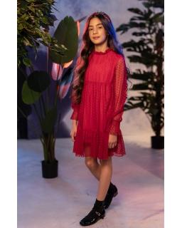 Koronkowa sukienka boho w kropki 128-164 0AW-9C czerwona