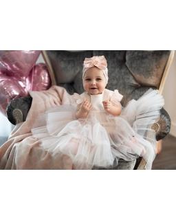 Piękna sukienka do chrztu 68-92 1/SMM/-01B różowa