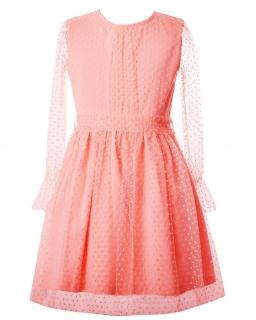 Dziewczęca sukienka w kolano 128-152 Bath morelowa 1