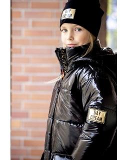 Ciepła długa zimowa kurtka z kapturem 128-152 PŁ-122 czarny