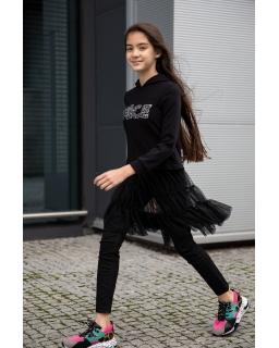 Bluza z tiulową spódnicą jak sukienka 128-164 0AW-27B czarny