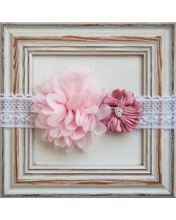 Piękna opaska do chrztu 1/SMMO-09 biały plus róż