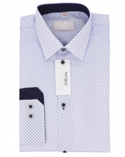 Chłopięca koszula w romby 122-164 KS31 niebieska