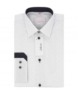 Chłopięca koszula w kropeczki 122-164 KS30 biała