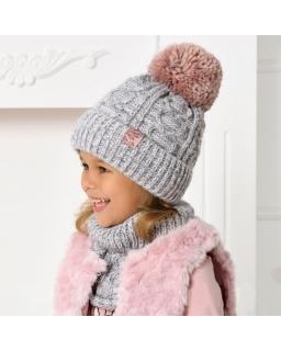 Zimowy komplet dla dziewczynki 52-56 AJS/40-479 szary plus róż