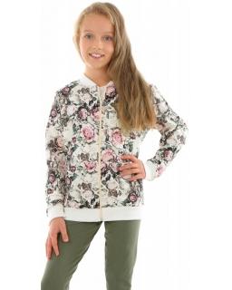 Dziewczęca bluza bomberka w kwiaty 128-158 KRP359