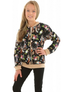 Dziewczęca bluza bomberka w kwiaty 128-158 KRP360 czarna