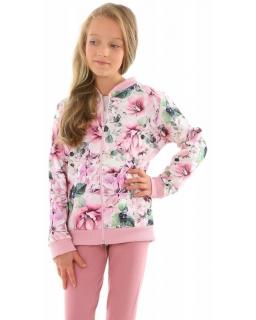 Dziewczęca bluza bomberka w kwiaty 128-158 KRP361 róż
