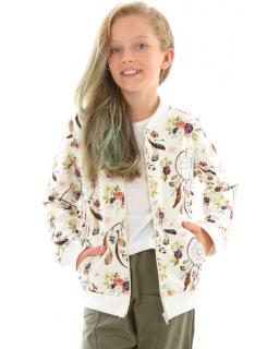 Dziewczęca bluza bomberka w kwiaty 128-158 KRP362