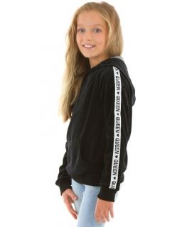 Welurowa bluza z katurem Queen 116-158 KRP363 czarna