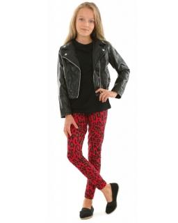 "Bawełniane legginsy czerwona panterka 116-158 KRP366 ""wzór021"""