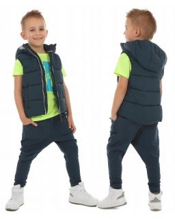 Ocieplane spodnie baggy dla chłopca 116-158 KRP369 granat