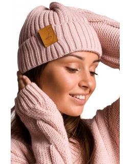 Uniwersalna czapka prążek plus naszywka BK059 róż