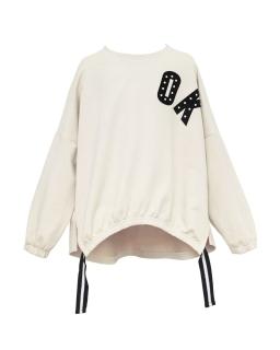 Modniarska luźna bluza OK 134-164 0AW29C ecru