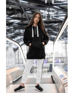 Długa bluza z modnymi wstawkami 134-170 0AW-36B czarna