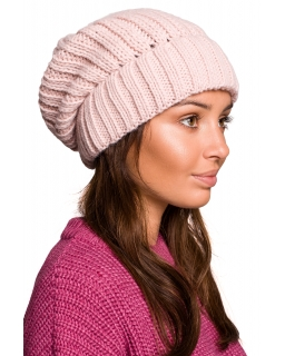 Jesienno-zimowa czapka dla mamy BK058 różowa