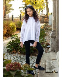 Efektowna koszula z tiulowymi rękawami 134-164 141/s/20 biała