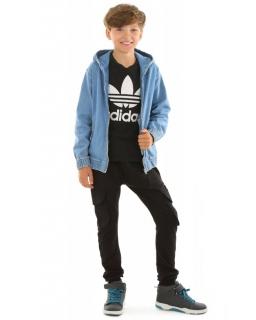 Spodnie bojówki dla chłopca, dresowe baggy, tanie dresy czarne
