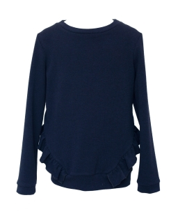 Sweterek z modną falbanką 128-164 501/S/20 granatowy
