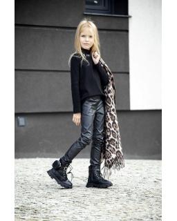Czarne woskowe spodnie z kieszeniami 128-158 G-323