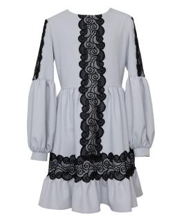 Piękna sukienka z czarną koronką 140-170 0AW-05A róż
