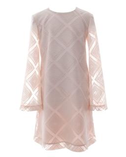 Rozkloszowana sukienka z koronki 134-164 0AW-08 róż