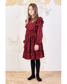 Świąteczna sukienka w stylu boho 140-158 Faria II bordo