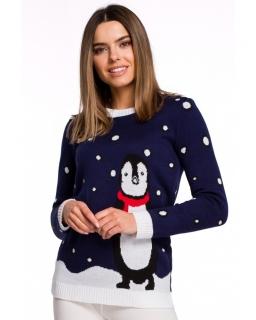 Świąteczny sweter z pingwinem dla mamy MX06 granat
