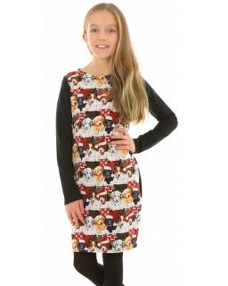 Sukienka tuba w pieski 116-158 KRP374 czarna