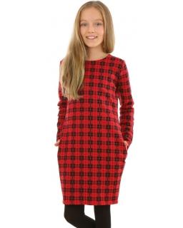 Sukienka tuba w kratkę 116-158 KRP379 czerwono-czarna